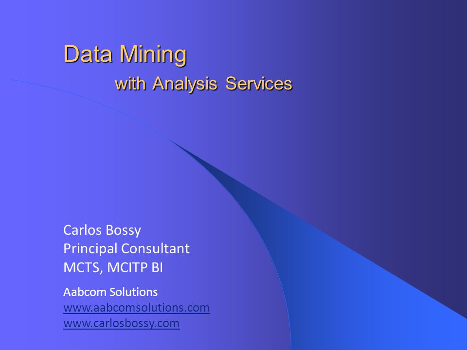Data Mining with Analysis Services