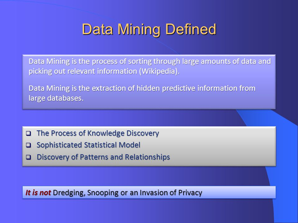 Data Mining Defined Data Mining is the process of sorting through large amounts of data and picking out relevant information (Wikipedia).