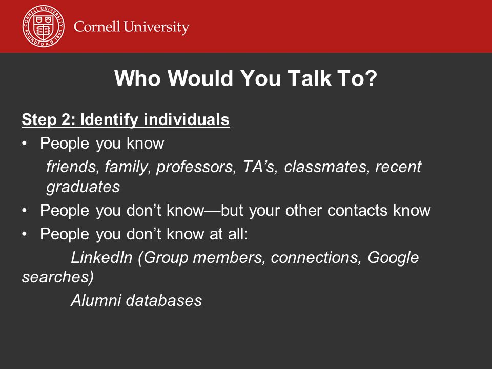 Who Would You Talk To Step 2: Identify individuals People you know