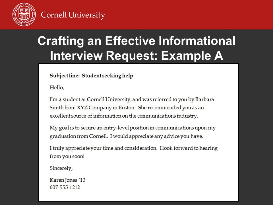 Crafting an Effective Informational Interview Request: Example A