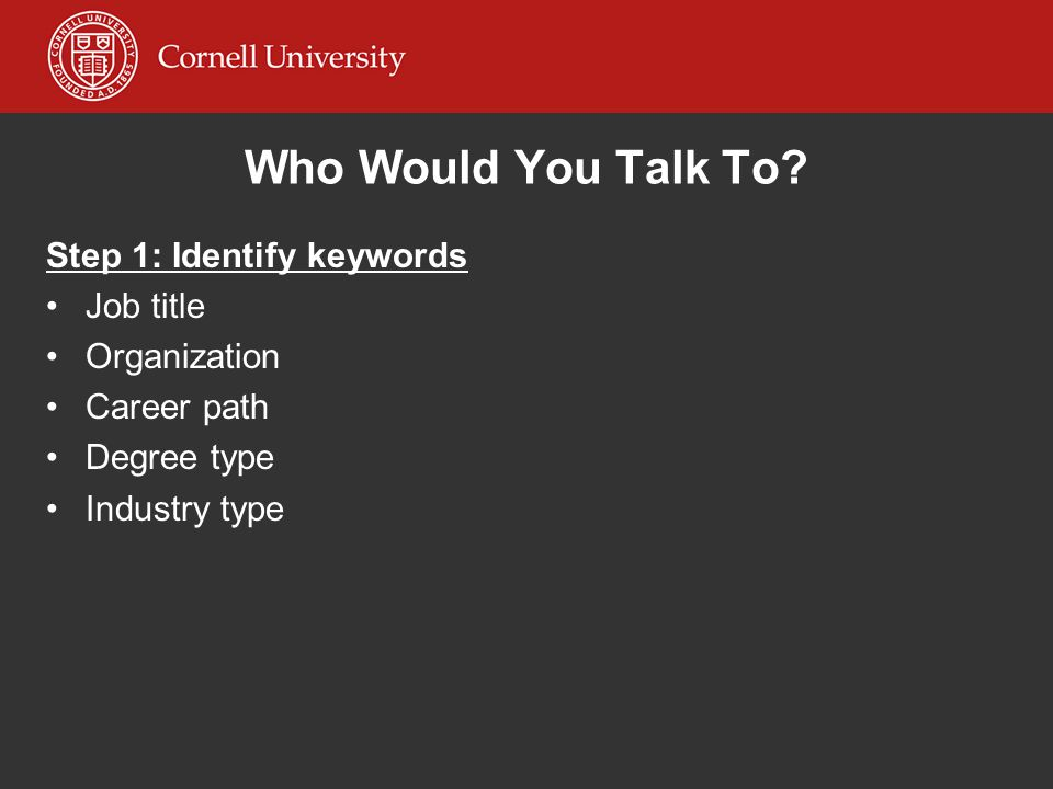 Who Would You Talk To Step 1: Identify keywords Job title