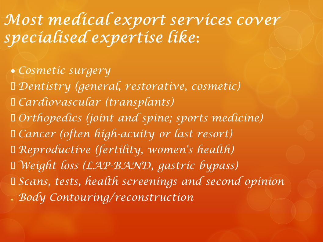 Most medical export services cover specialised expertise like: