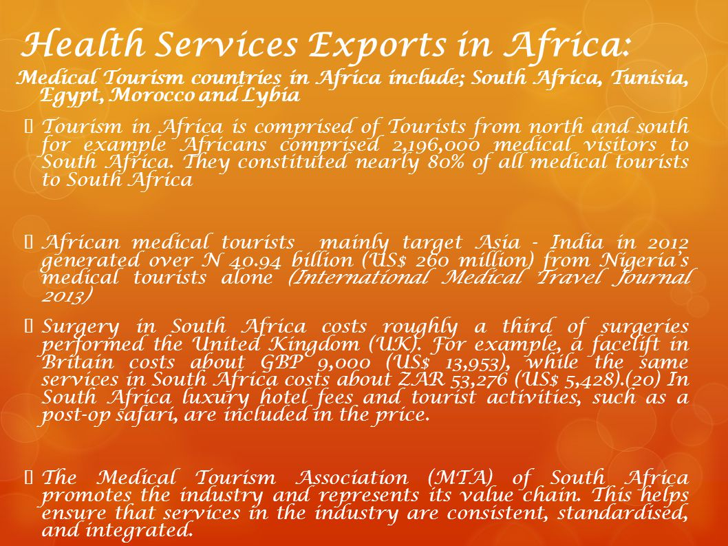 Health Services Exports in Africa: