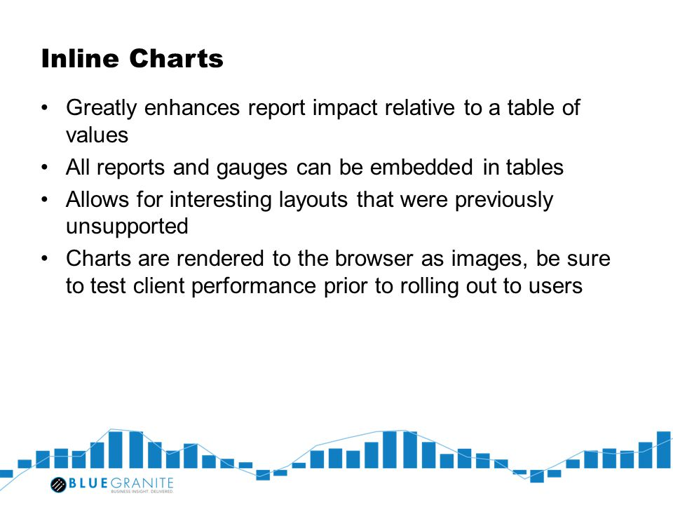 Inline Charts Greatly enhances report impact relative to a table of values. All reports and gauges can be embedded in tables.