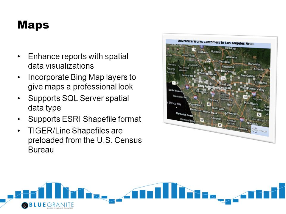 Maps Enhance reports with spatial data visualizations