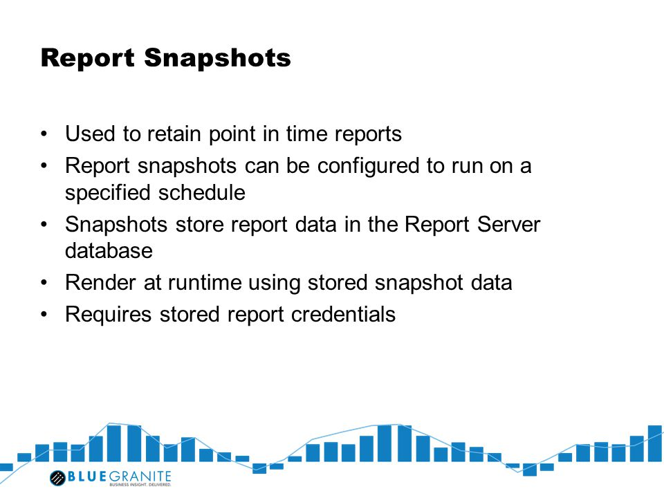 Report Snapshots Used to retain point in time reports
