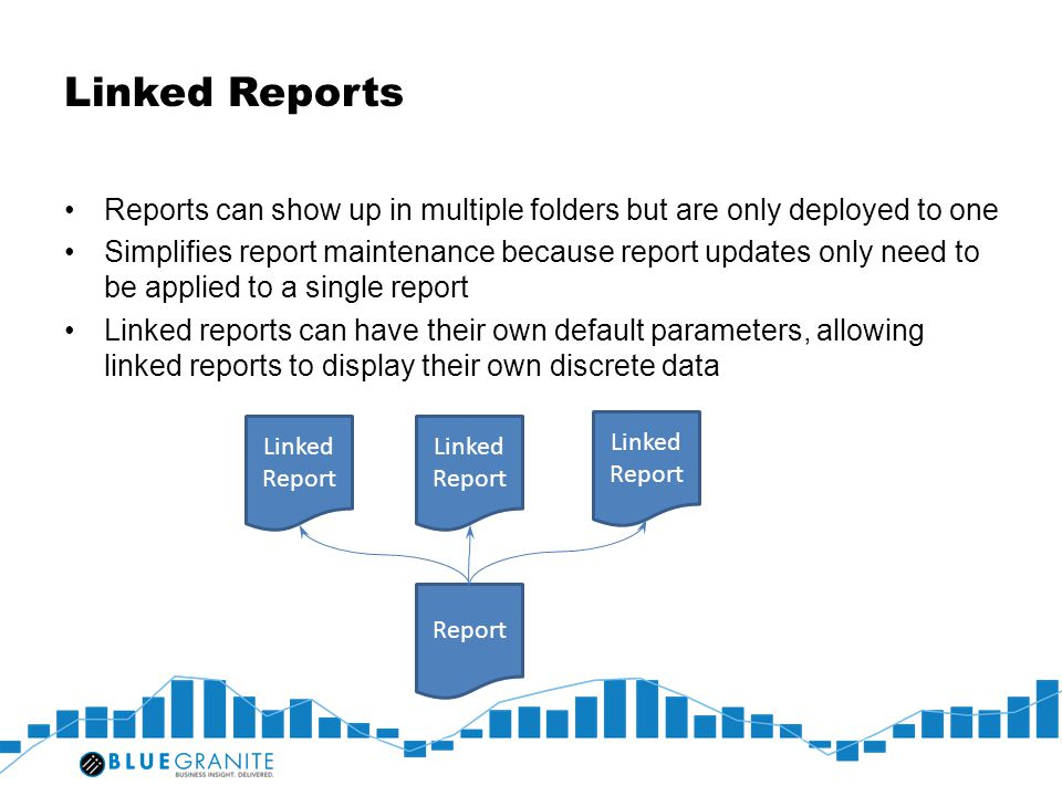 Linked Reports Reports can show up in multiple folders but are only deployed to one.