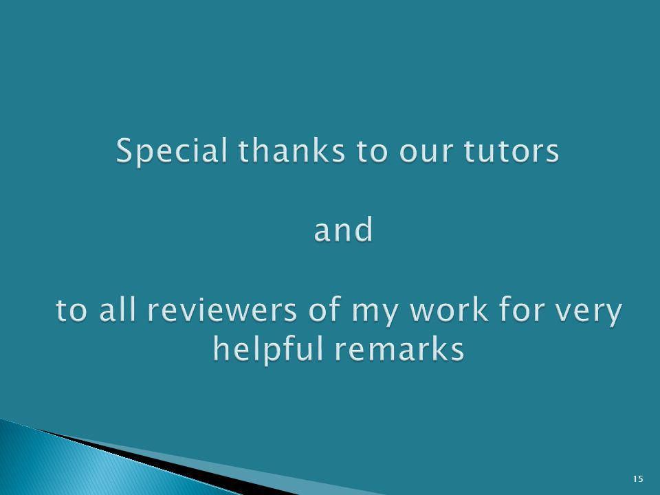 Special thanks to our tutors and to all reviewers of my work for very helpful remarks