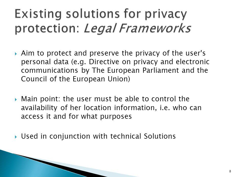 Existing solutions for privacy protection: Legal Frameworks
