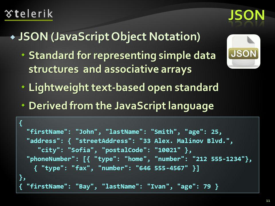 JSON JSON (JavaScript Object Notation)