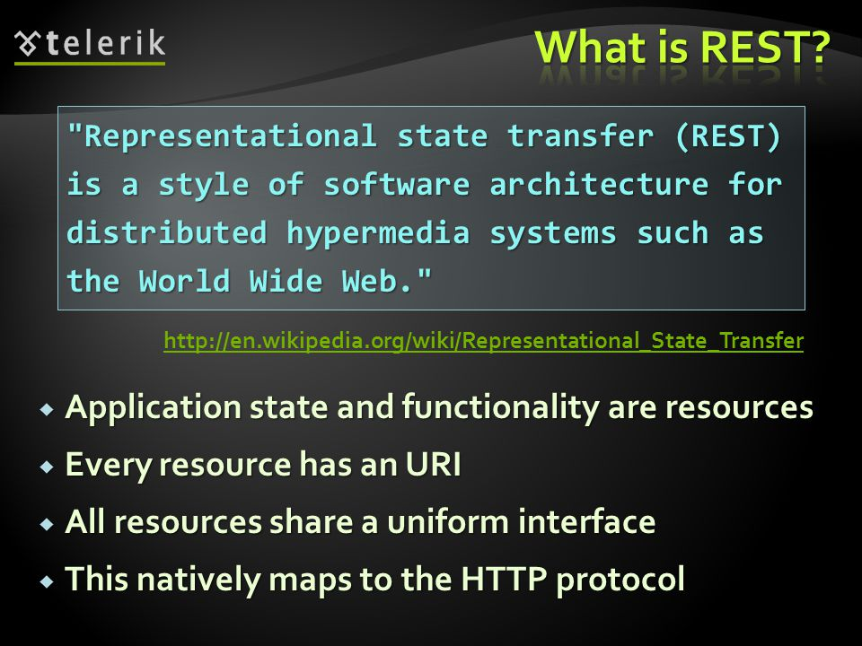 What is REST Application state and functionality are resources