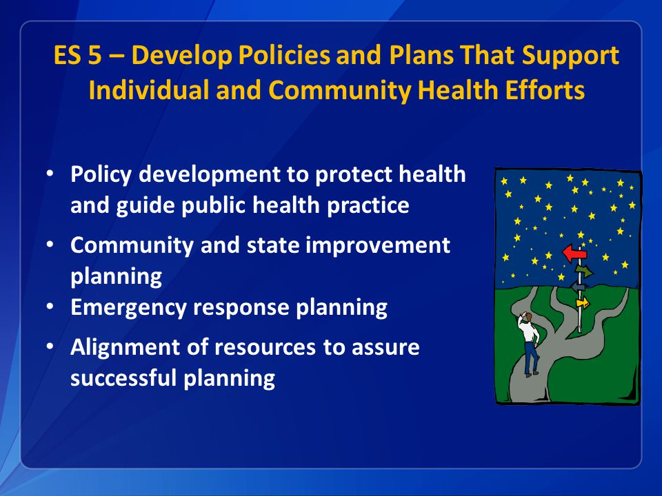 ES 5 – Develop Policies and Plans That Support Individual and Community Health Efforts