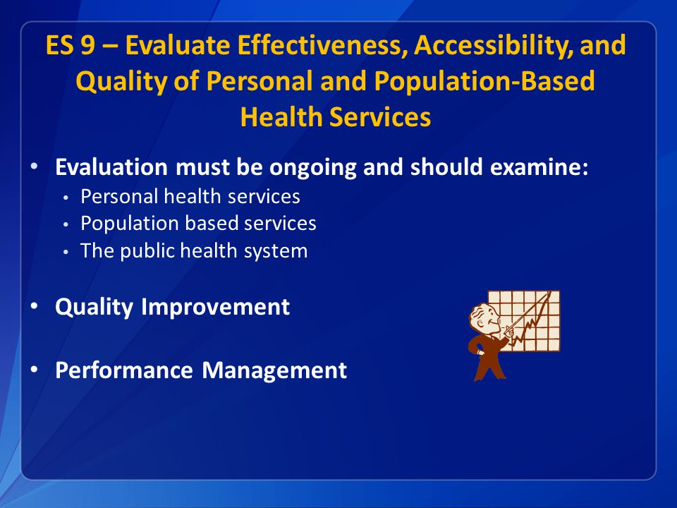 ES 9 – Evaluate Effectiveness, Accessibility, and Quality of Personal and Population-Based Health Services