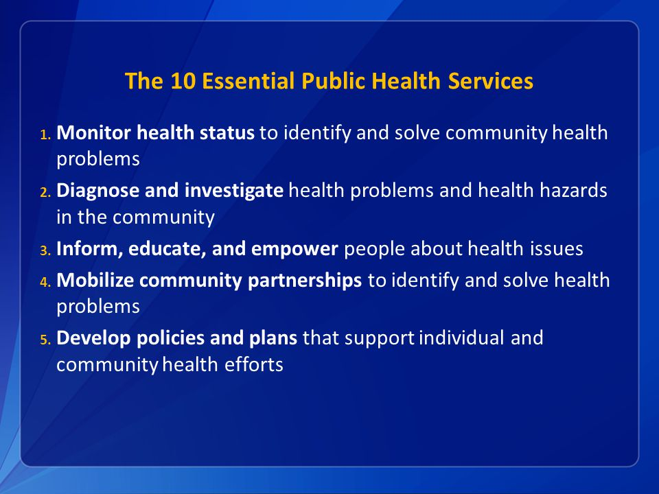 The 10 Essential Public Health Services