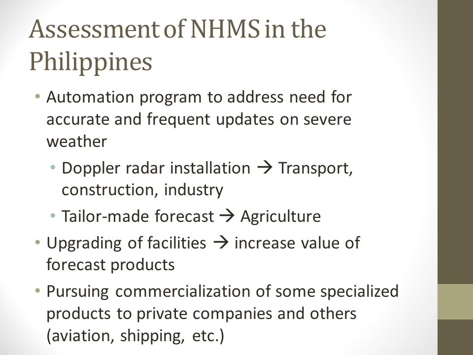 Assessment of NHMS in the Philippines