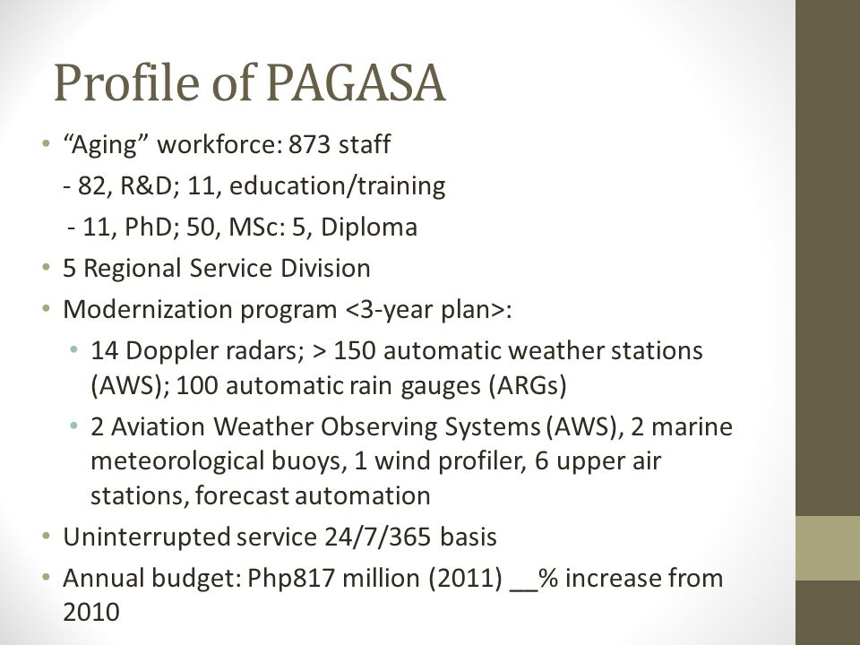 Profile of PAGASA Aging workforce: 873 staff