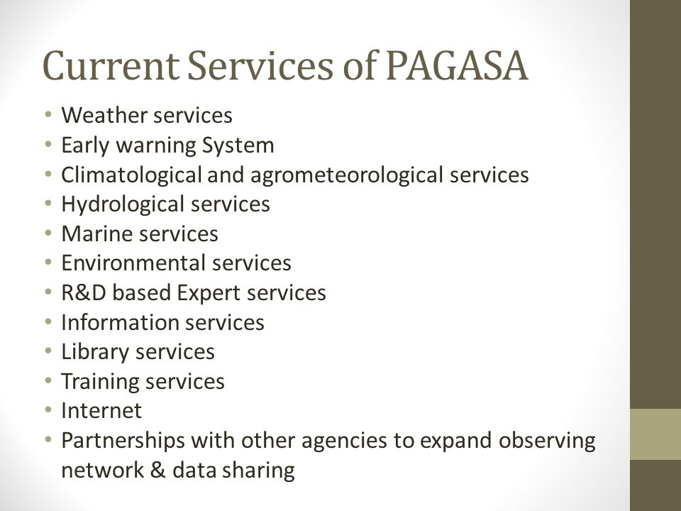 Current Services of PAGASA