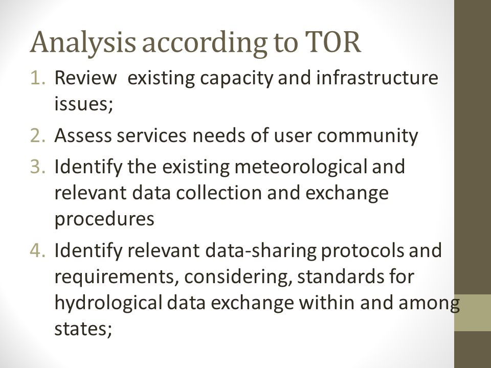 Analysis according to TOR