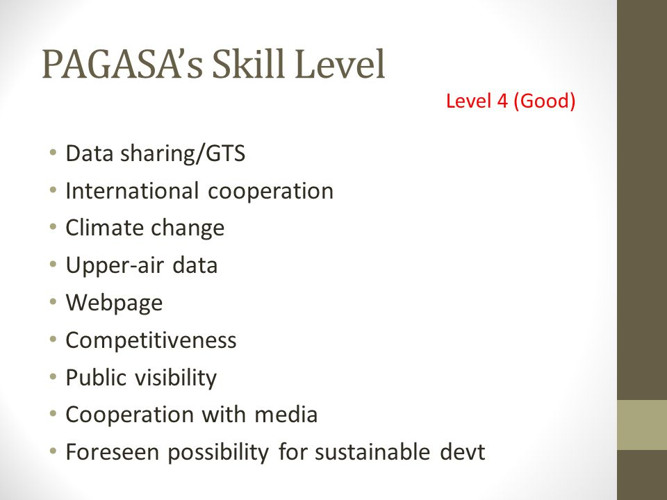 PAGASA's Skill Level Data sharing/GTS International cooperation