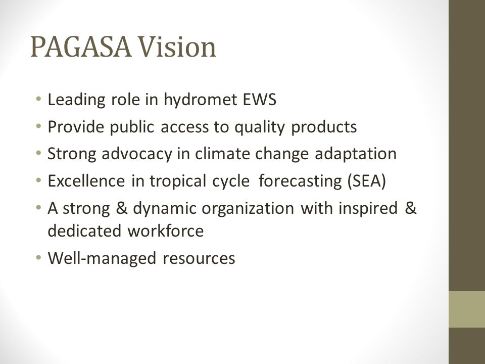 PAGASA Vision Leading role in hydromet EWS