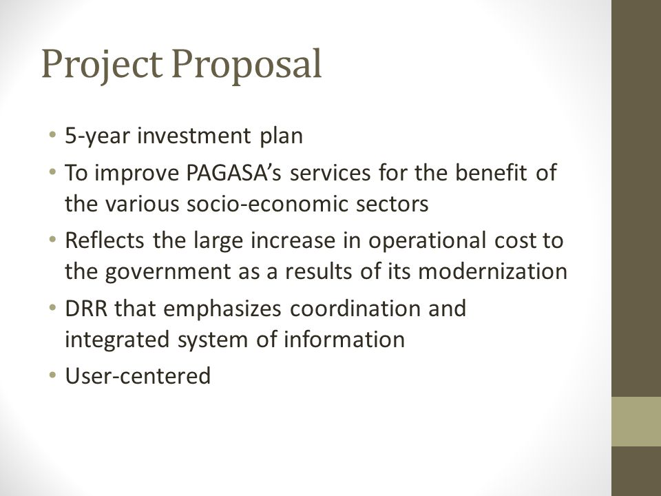 Project Proposal 5-year investment plan