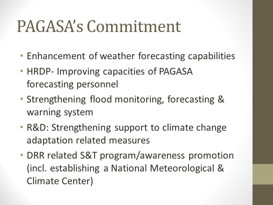 PAGASA's Commitment Enhancement of weather forecasting capabilities