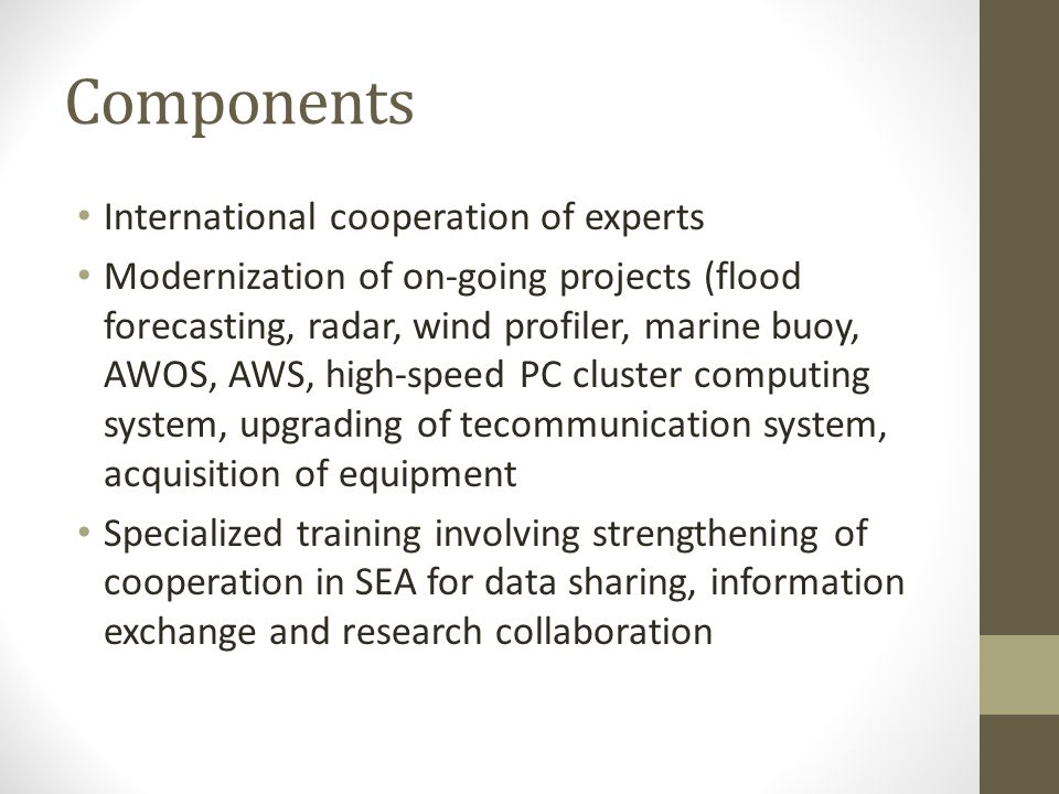 Components International cooperation of experts