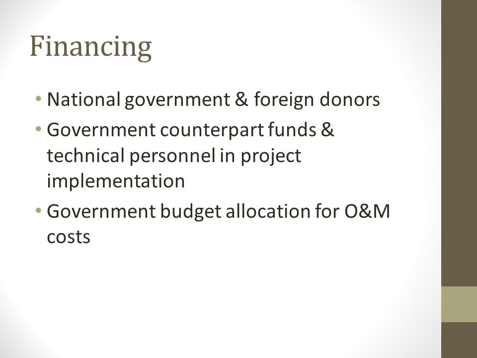Financing National government & foreign donors