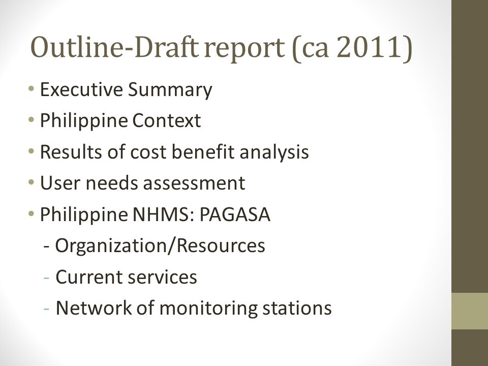 Outline-Draft report (ca 2011)