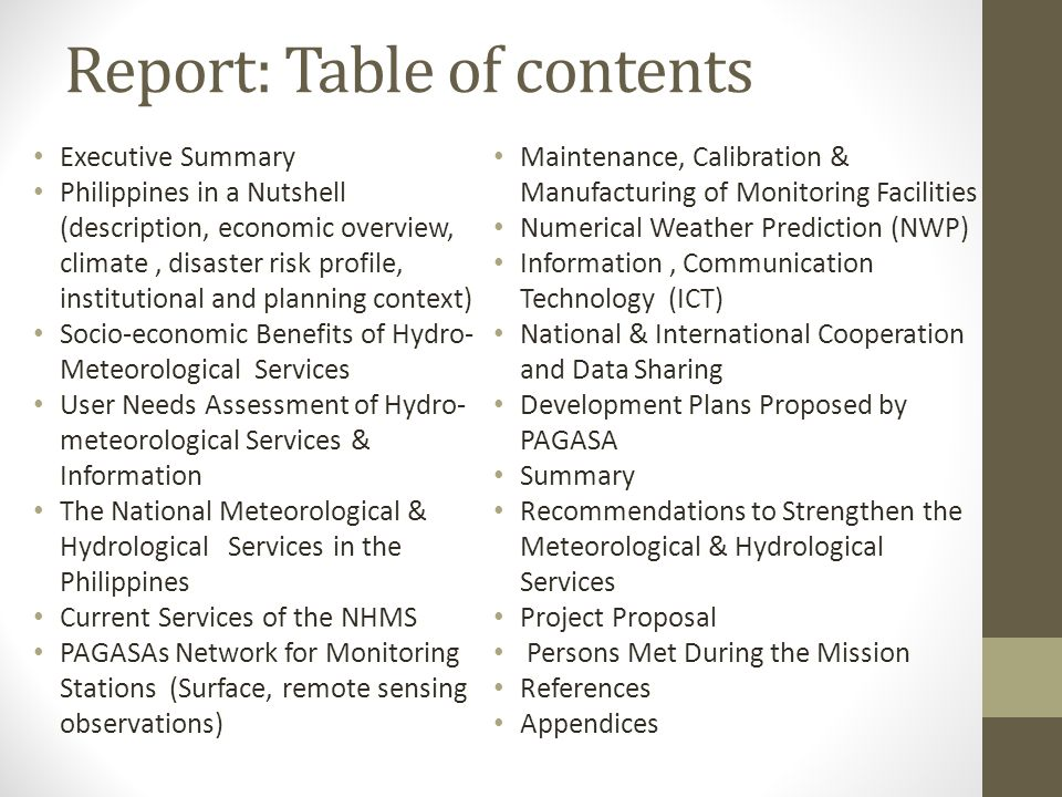Report: Table of contents