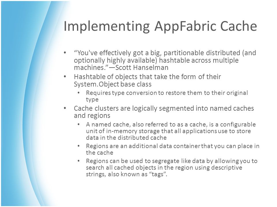 Implementing AppFabric Cache