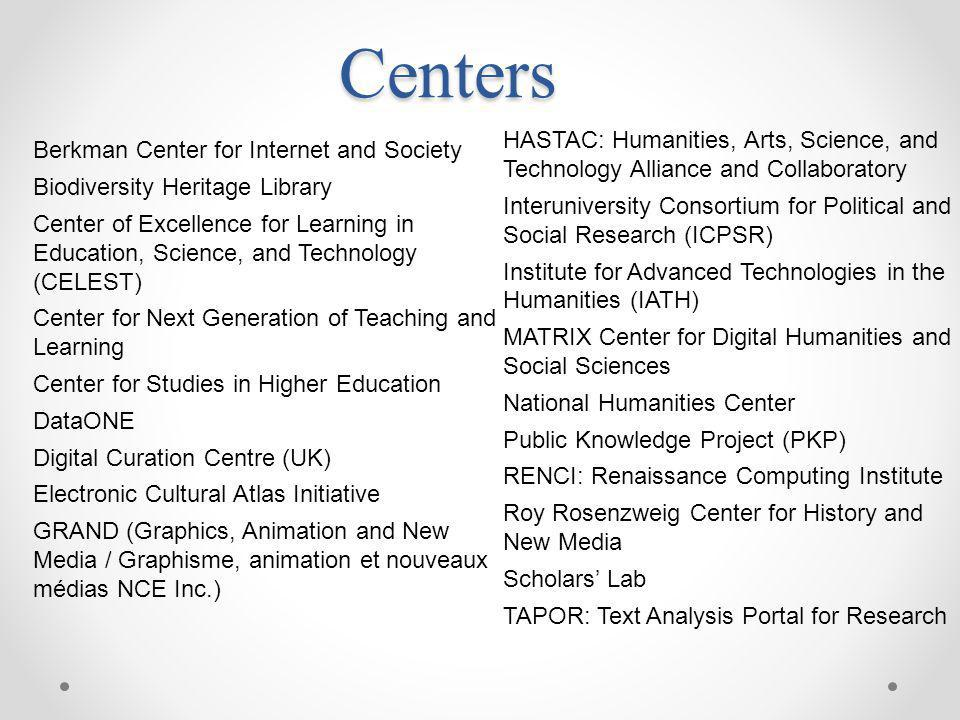 Centers HASTAC: Humanities, Arts, Science, and Technology Alliance and Collaboratory.