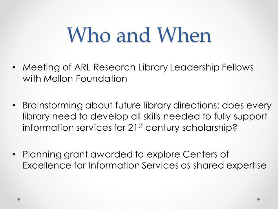 Who and When Meeting of ARL Research Library Leadership Fellows with Mellon Foundation.