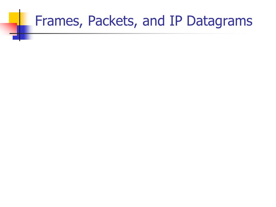 Frames, Packets, and IP Datagrams