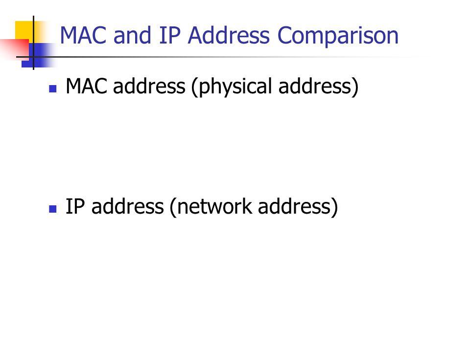 MAC and IP Address Comparison