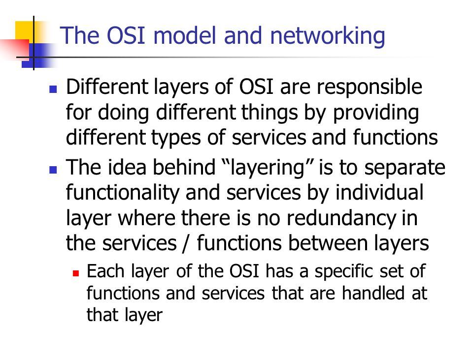 The OSI model and networking