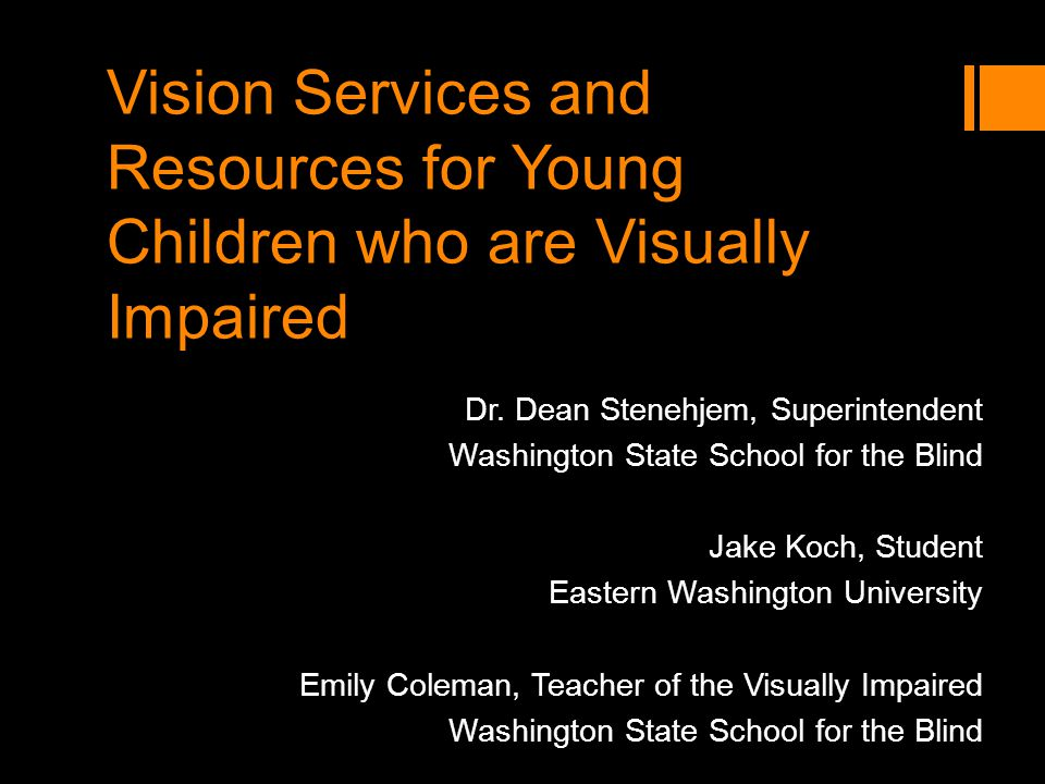 Vision Services and Resources for Young Children who are Visually Impaired