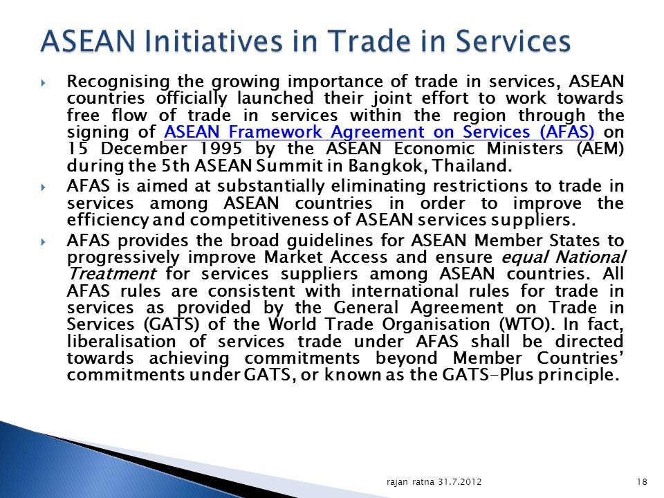 ASEAN Initiatives in Trade in Services
