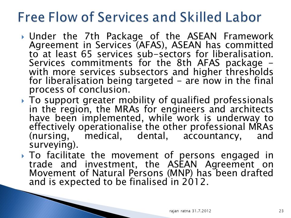 Free Flow of Services and Skilled Labor