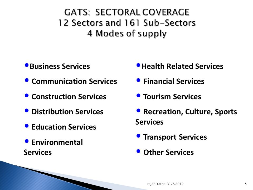 GATS: SECTORAL COVERAGE 12 Sectors and 161 Sub-Sectors 4 Modes of supply