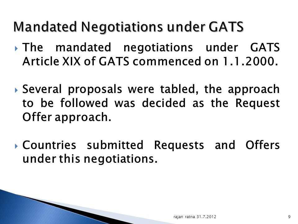 Mandated Negotiations under GATS