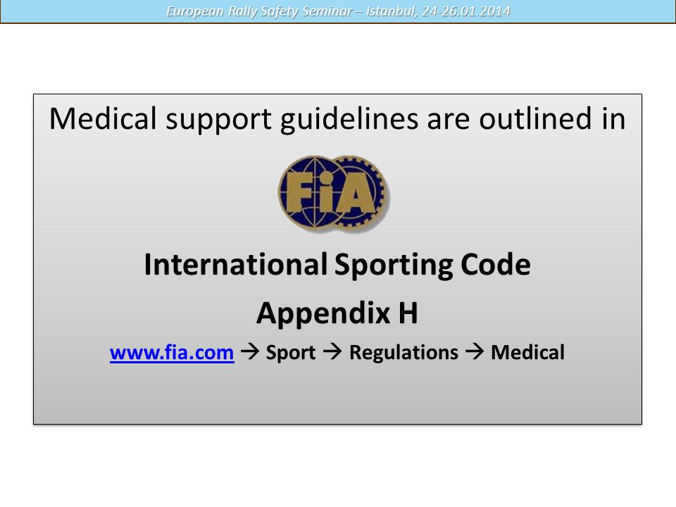 International Sporting Code Appendix H