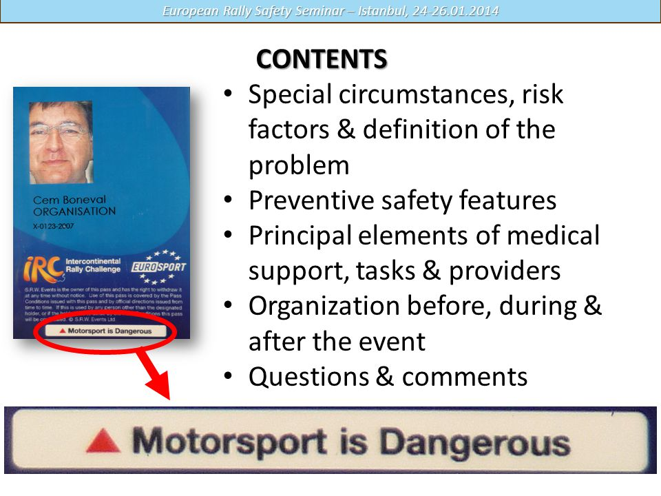 Special circumstances, risk factors & definition of the problem