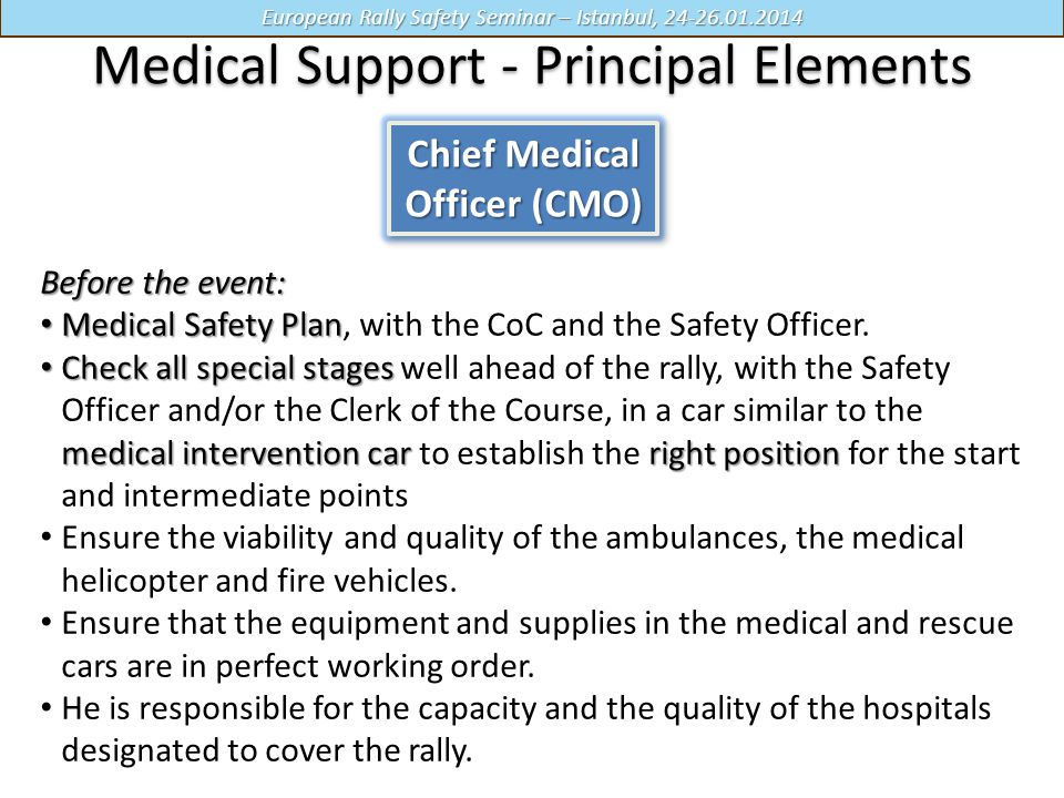 Medical Support - Principal Elements