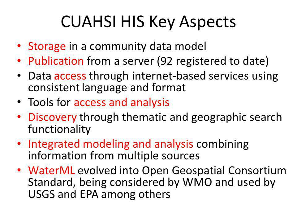 CUAHSI HIS Key Aspects Storage in a community data model