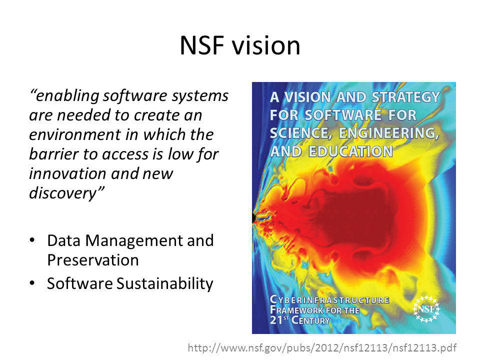 NSF vision enabling software systems are needed to create an environment in which the barrier to access is low for innovation and new discovery