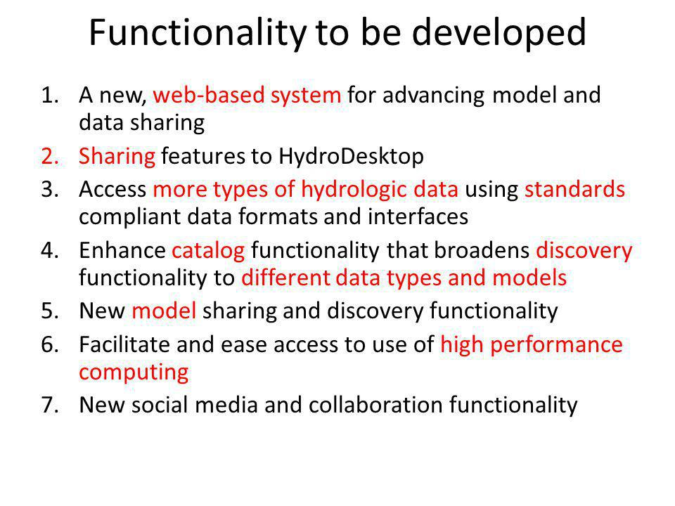 Functionality to be developed