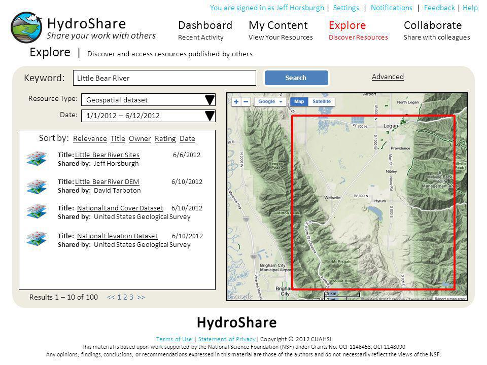 HydroShare Explore | Discover and access resources published by others