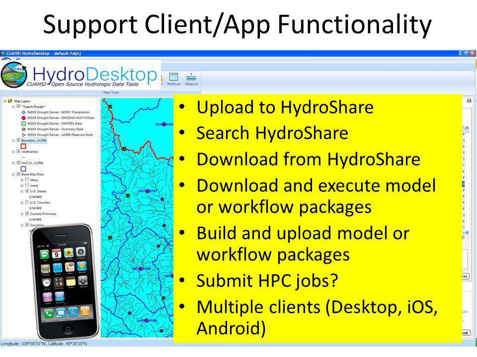 Support Client/App Functionality