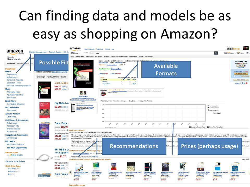 Can finding data and models be as easy as shopping on Amazon